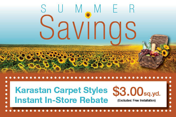 Karastan carpet styles - instant in-store rebate $3.00 sq.yd. (excludes free installation)