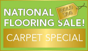 Free installation & removal of old carpet during the National Gold Tag Flooring Sale!